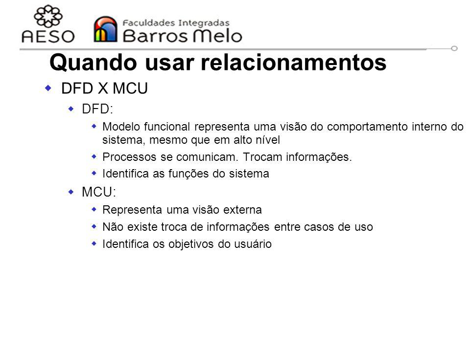 15/8/2014Engenharia de software orientada a objetos 45 Quando usar relacionamentos  DFD X MCU  DFD:  Modelo funcional representa uma visão do compo