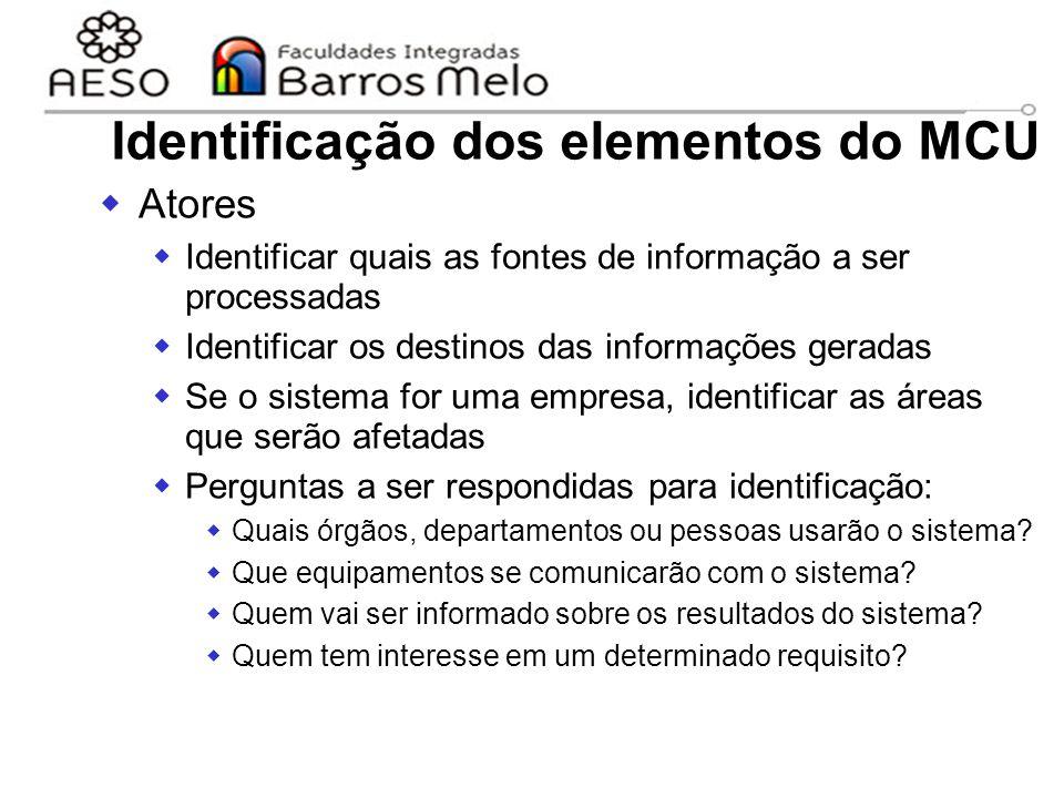 15/8/2014Engenharia de software orientada a objetos 46 Identificação dos elementos do MCU  Atores  Identificar quais as fontes de informação a ser p