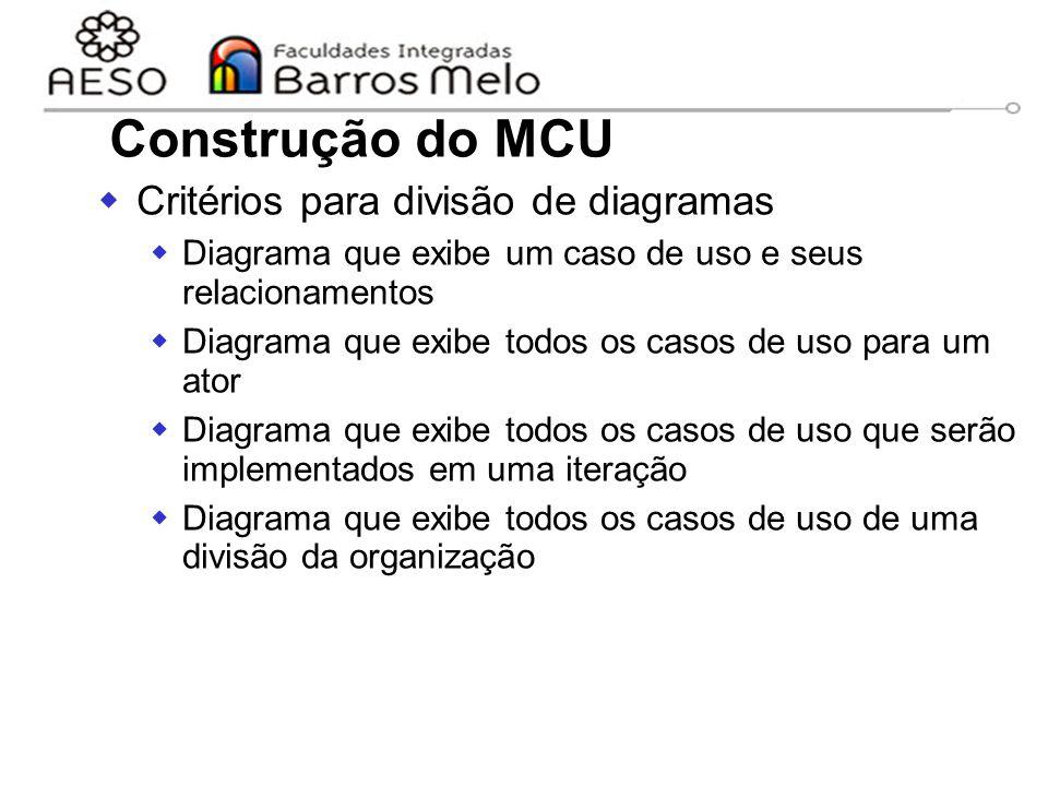 15/8/2014Engenharia de software orientada a objetos 50 Construção do MCU  Critérios para divisão de diagramas  Diagrama que exibe um caso de uso e s