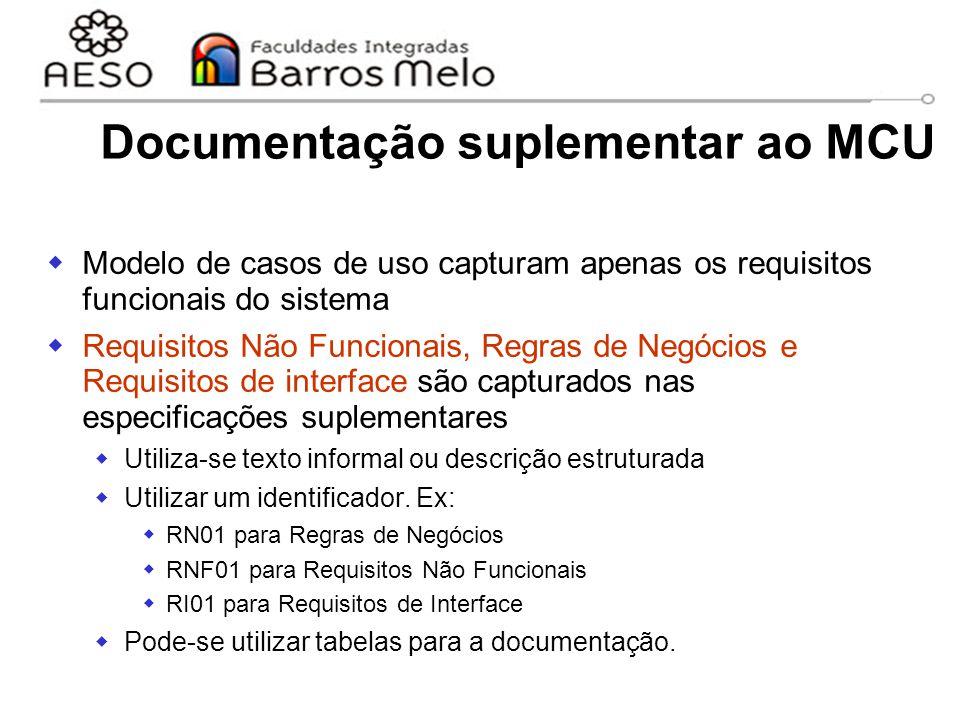 15/8/2014Engenharia de software orientada a objetos 56 Documentação suplementar ao MCU  Modelo de casos de uso capturam apenas os requisitos funciona