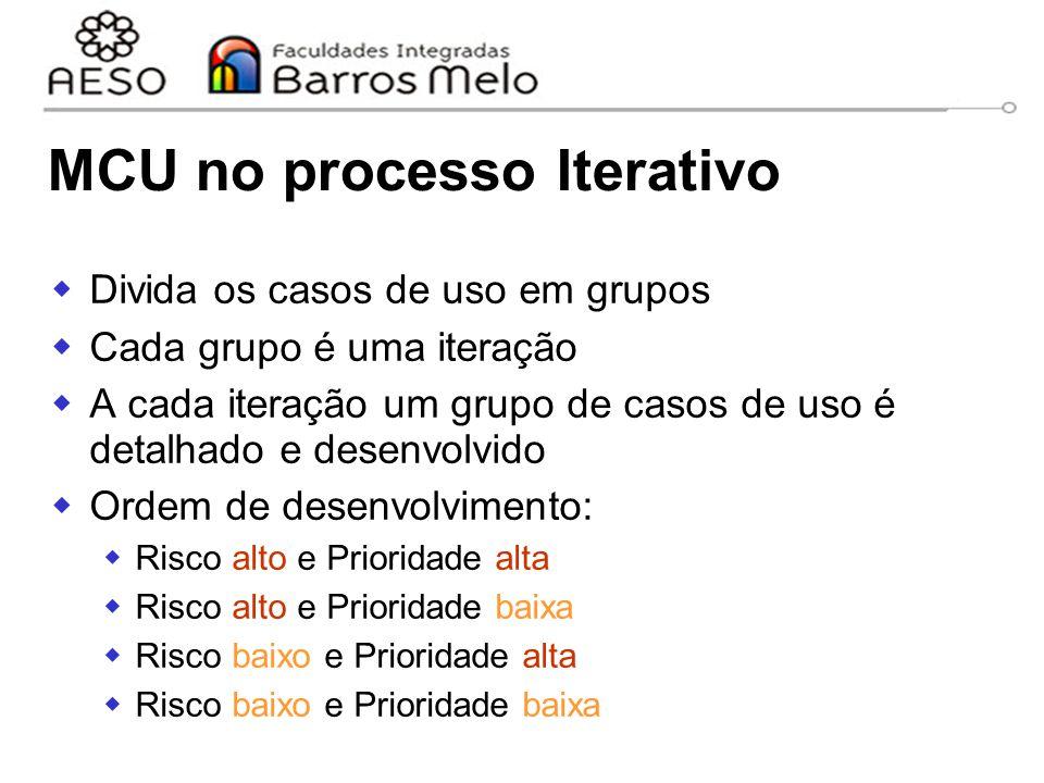 15/8/2014Engenharia de software orientada a objetos 57 MCU no processo Iterativo  Divida os casos de uso em grupos  Cada grupo é uma iteração  A ca