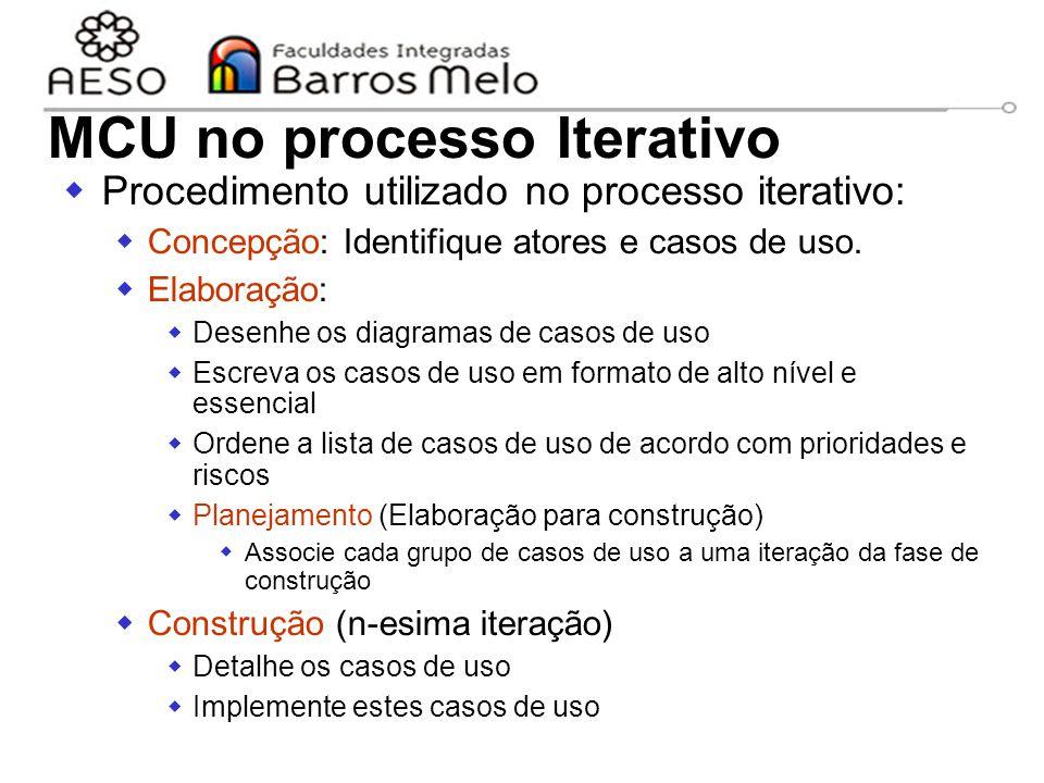 15/8/2014Engenharia de software orientada a objetos 58 MCU no processo Iterativo  Procedimento utilizado no processo iterativo:  Concepção: Identifi