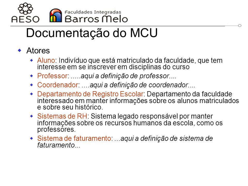 15/8/2014Engenharia de software orientada a objetos 63 Documentação do MCU  Atores  Aluno: Indivíduo que está matriculado da faculdade, que tem inte