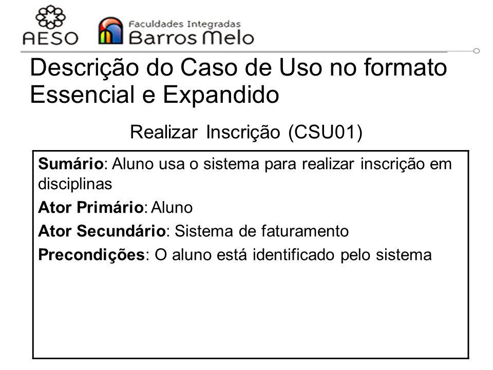 15/8/2014Engenharia de software orientada a objetos 66 Descrição do Caso de Uso no formato Essencial e Expandido Realizar Inscrição (CSU01) Sumário: A