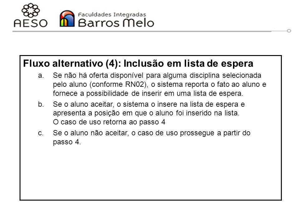 15/8/2014Engenharia de software orientada a objetos 68 Fluxo alternativo (4): Inclusão em lista de espera a.Se não há oferta disponível para alguma di