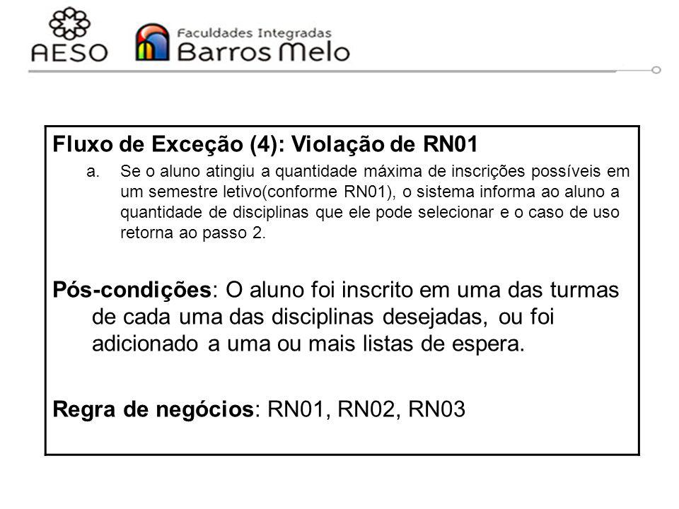 15/8/2014Engenharia de software orientada a objetos 69 Fluxo de Exceção (4): Violação de RN01 a.Se o aluno atingiu a quantidade máxima de inscrições p