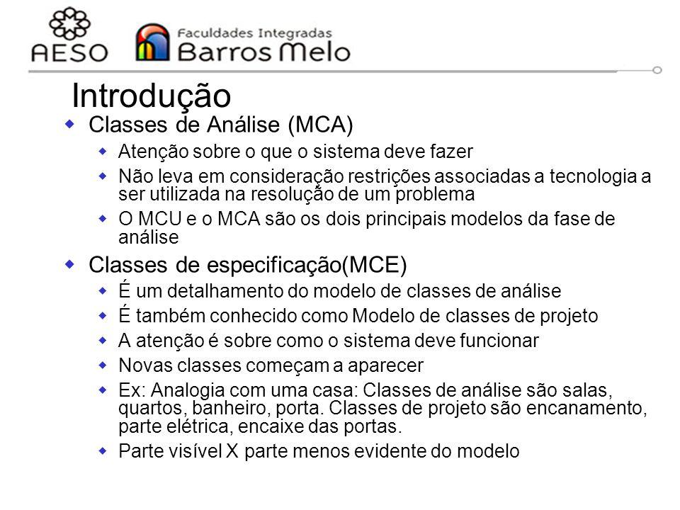 15/8/2014Engenharia de software orientada a objetos 73 Introdução  Classes de Análise (MCA)  Atenção sobre o que o sistema deve fazer  Não leva em