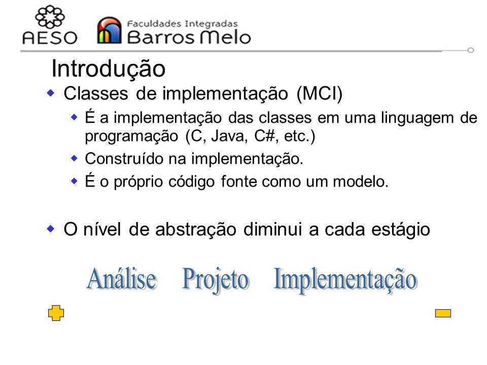 15/8/2014Engenharia de software orientada a objetos 74  Classes de implementação (MCI)  É a implementação das classes em uma linguagem de programaçã