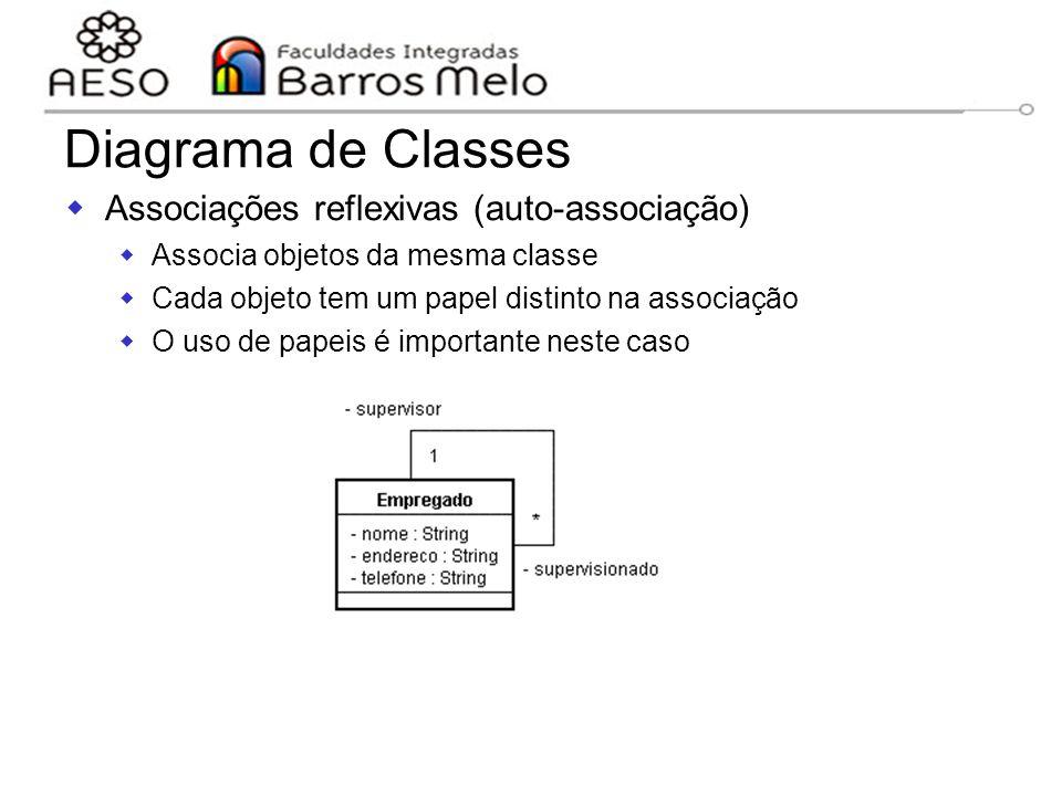 15/8/2014Engenharia de software orientada a objetos 90  Associações reflexivas (auto-associação)  Associa objetos da mesma classe  Cada objeto tem