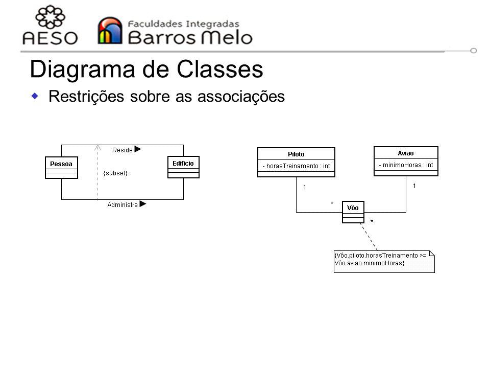 15/8/2014Engenharia de software orientada a objetos 91  Restrições sobre as associações Diagrama de Classes Objetos da associação administra são um s