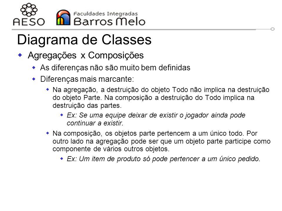 15/8/2014Engenharia de software orientada a objetos 95  Agregações x Composições  As diferenças não são muito bem definidas  Diferenças mais marcan