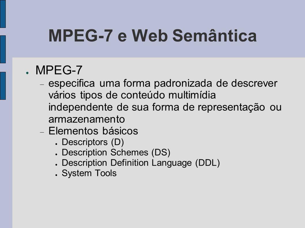 MPEG-7 e Web Semântica ● MPEG-7  especifica uma forma padronizada de descrever vários tipos de conteúdo multimídia independente de sua forma de repre