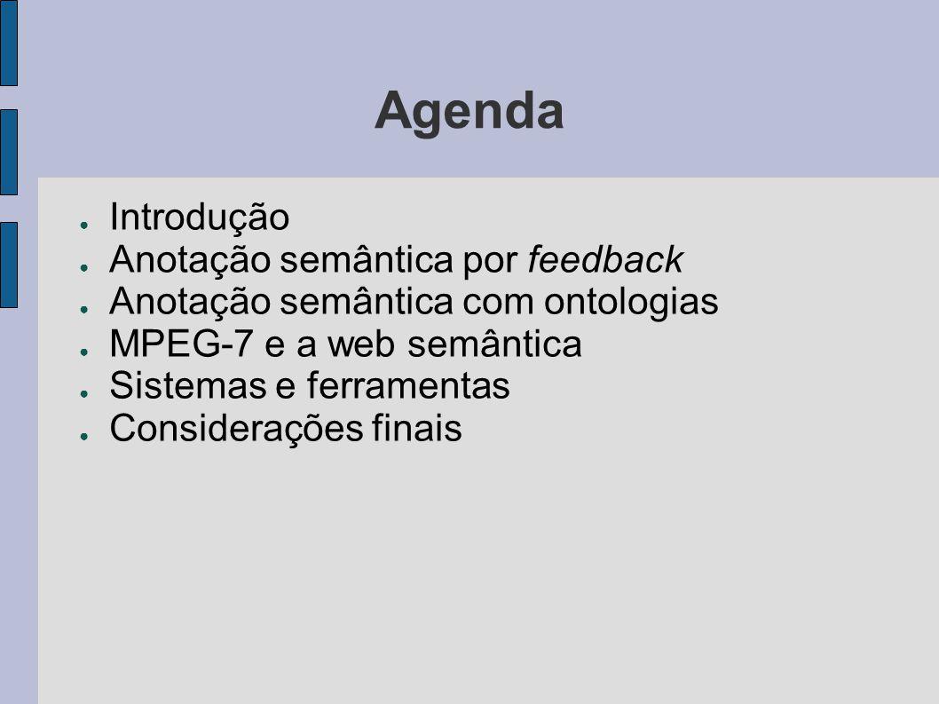 Agenda ● Introdução ● Anotação semântica por feedback ● Anotação semântica com ontologias ● MPEG-7 e a web semântica ● Sistemas e ferramentas ● Consid