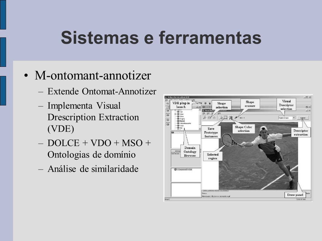 Sistemas e ferramentas M-ontomant-annotizer –Extende Ontomat-Annotizer –Implementa Visual Drescription Extraction (VDE) –DOLCE + VDO + MSO + Ontologias de domínio –Análise de similaridade
