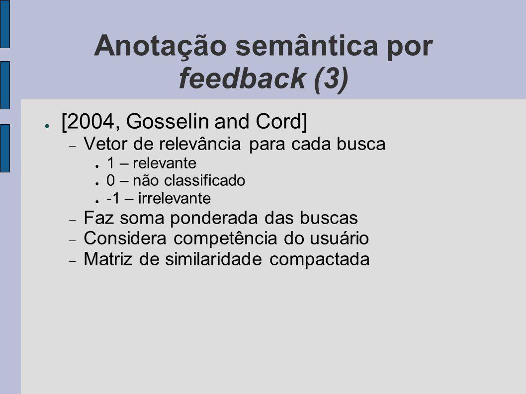Anotação semântica por feedback (3) ● [2004, Gosselin and Cord]  Vetor de relevância para cada busca ● 1 – relevante ● 0 – não classificado ● -1 – ir