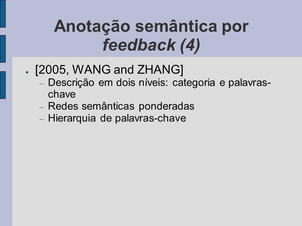 Anotação semântica por feedback (4) ● [2005, WANG and ZHANG]  Descrição em dois níveis: categoria e palavras- chave  Redes semânticas ponderadas  H