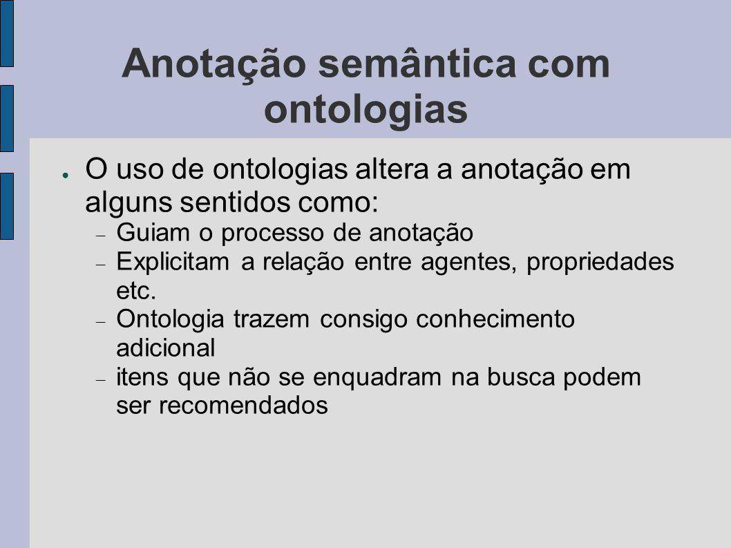 Anotação semântica com ontologias ● O uso de ontologias altera a anotação em alguns sentidos como:  Guiam o processo de anotação  Explicitam a relaç