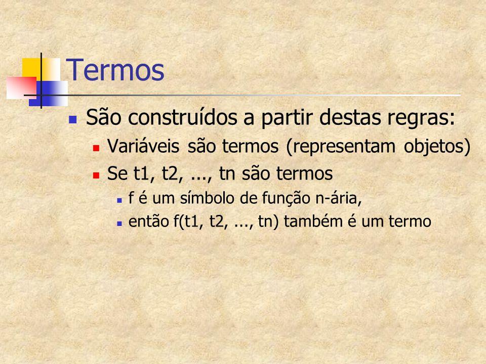 Termos São construídos a partir destas regras: Variáveis são termos (representam objetos) Se t1, t2,..., tn são termos f é um símbolo de função n-ária