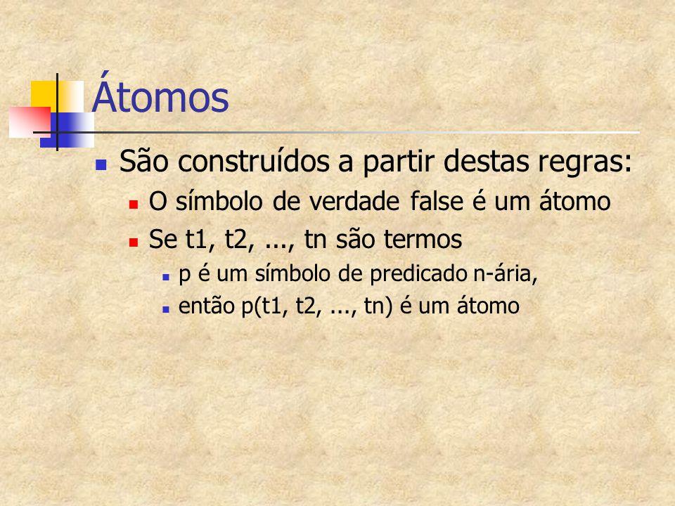 Átomos São construídos a partir destas regras: O símbolo de verdade false é um átomo Se t1, t2,..., tn são termos p é um símbolo de predicado n-ária,