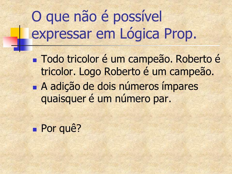 O que não é possível expressar em Lógica Prop. Todo tricolor é um campeão. Roberto é tricolor. Logo Roberto é um campeão. A adição de dois números ímp