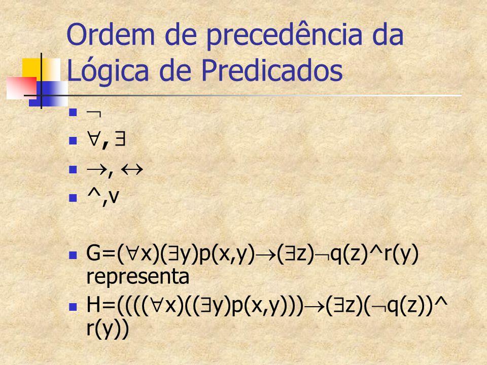Ordem de precedência da Lógica de Predicados  ,  ,  ^,v G=(  x)(  y)p(x,y)  (  z)  q(z)^r(y) representa H=((((  x)((  y)p(x,y)))  (  z)(
