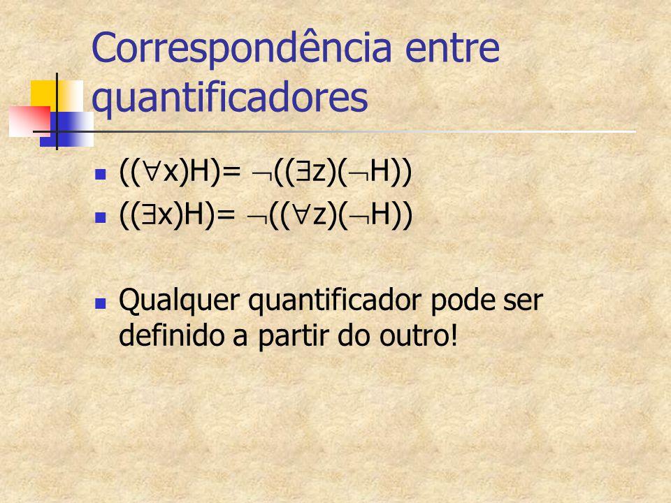Correspondência entre quantificadores ((  x)H)=  ((  z)(  H)) ((  x)H)=  ((  z)(  H)) Qualquer quantificador pode ser definido a partir do out
