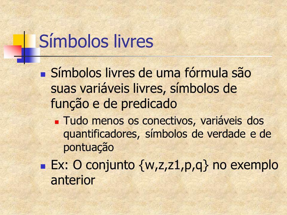 Símbolos livres Símbolos livres de uma fórmula são suas variáveis livres, símbolos de função e de predicado Tudo menos os conectivos, variáveis dos qu
