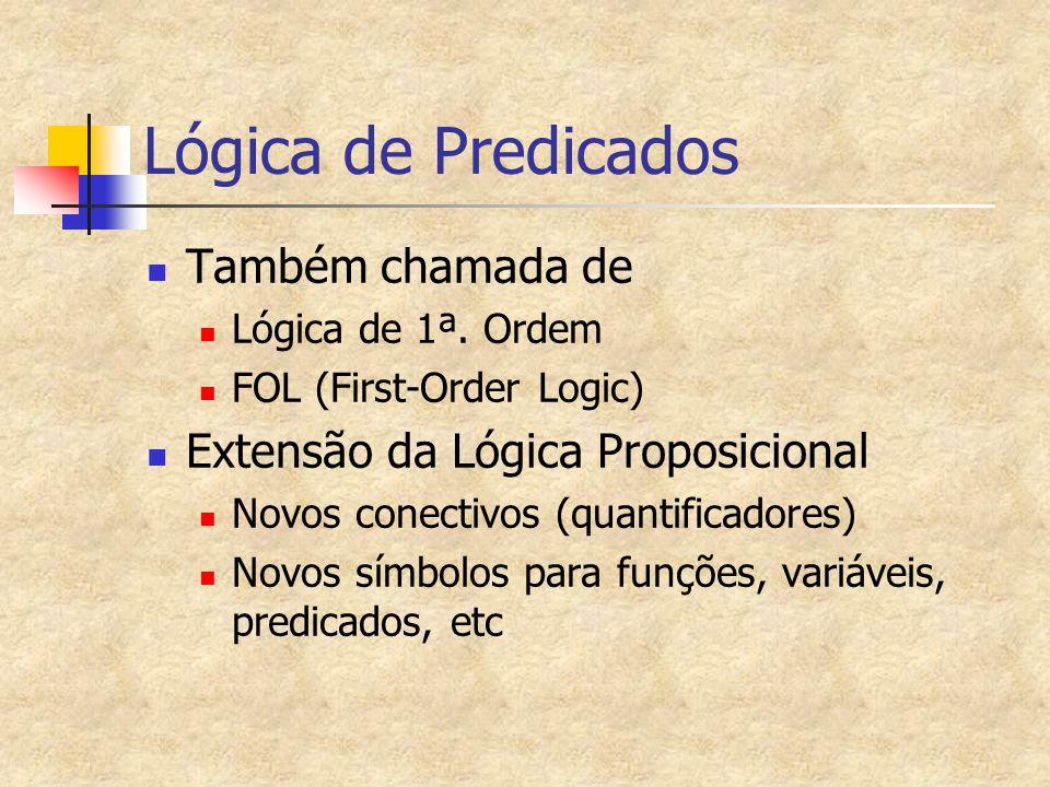 Lógica de Predicados Também chamada de Lógica de 1ª. Ordem FOL (First-Order Logic) Extensão da Lógica Proposicional Novos conectivos (quantificadores)