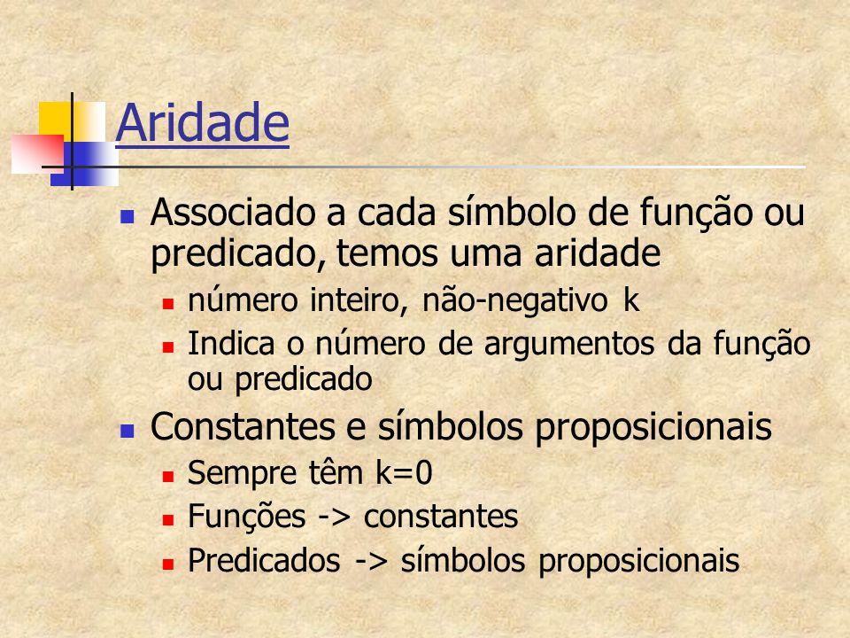 Aridade Associado a cada símbolo de função ou predicado, temos uma aridade número inteiro, não-negativo k Indica o número de argumentos da função ou p
