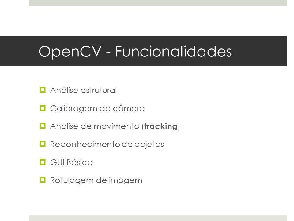 OpenCV - Funcionalidades  Análise estrutural  Calibragem de câmera  Análise de movimento ( tracking )  Reconhecimento de objetos  GUI Básica  Rotulagem de imagem