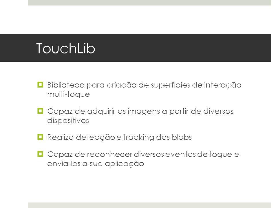TouchLib  Biblioteca para criação de superfícies de interação multi-toque  Capaz de adquirir as imagens a partir de diversos dispositivos  Realiza detecção e tracking dos blobs  Capaz de reconhecer diversos eventos de toque e envia-los a sua aplicação
