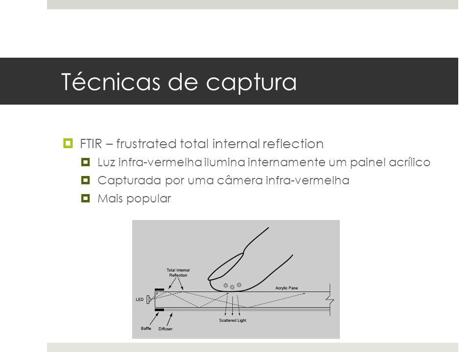 Técnicas de captura  FTIR – frustrated total internal reflection  Luz infra-vermelha ilumina internamente um painel acrílico  Capturada por uma câmera infra-vermelha  Mais popular