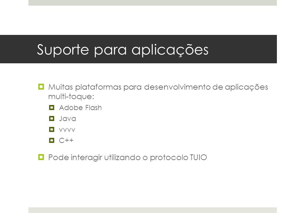 Suporte para aplicações  Muitas plataformas para desenvolvimento de aplicações multi-toque:  Adobe Flash  Java  vvvv  C++  Pode interagir utilizando o protocolo TUIO