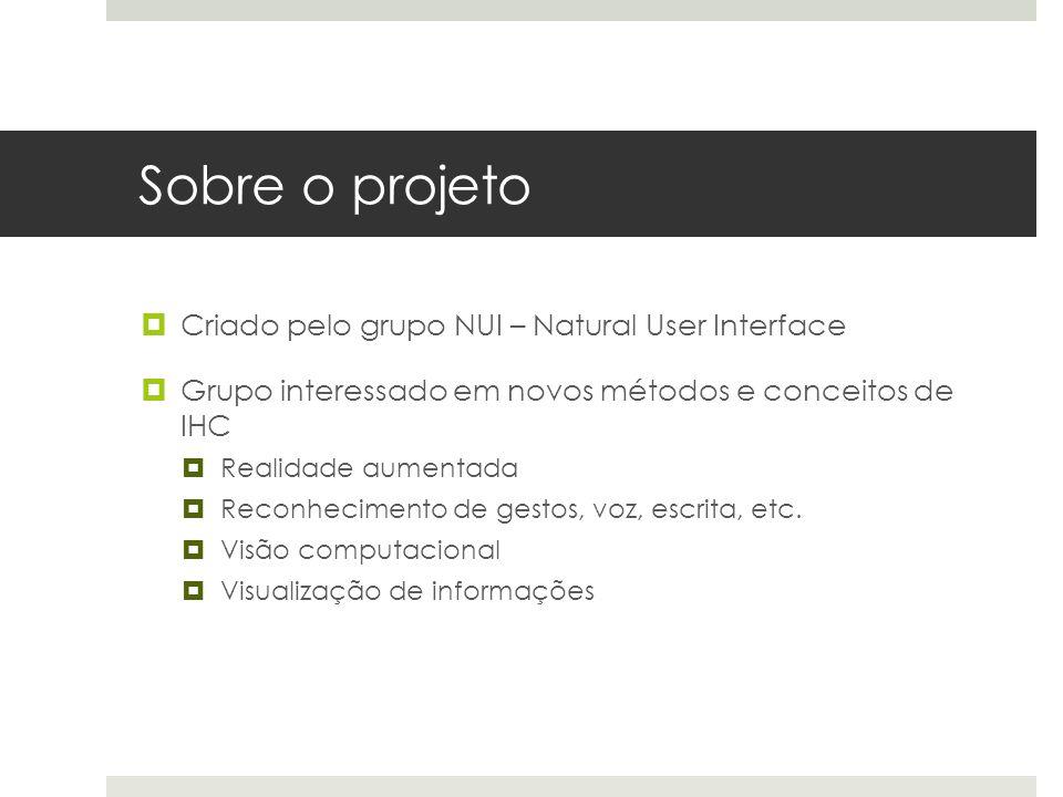 Sobre o projeto  Criado pelo grupo NUI – Natural User Interface  Grupo interessado em novos métodos e conceitos de IHC  Realidade aumentada  Reconhecimento de gestos, voz, escrita, etc.