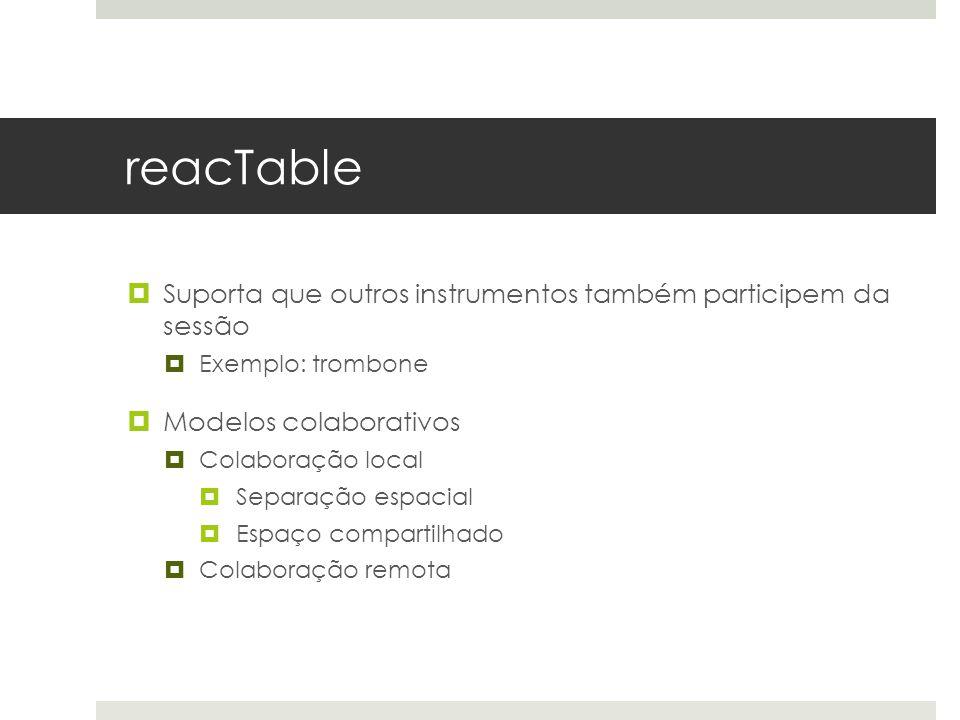 reacTable  Suporta que outros instrumentos também participem da sessão  Exemplo: trombone  Modelos colaborativos  Colaboração local  Separação espacial  Espaço compartilhado  Colaboração remota