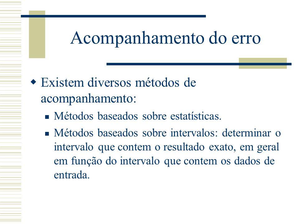 Acompanhamento do erro  Existem diversos métodos de acompanhamento: Métodos baseados sobre estatísticas. Métodos baseados sobre intervalos: determina