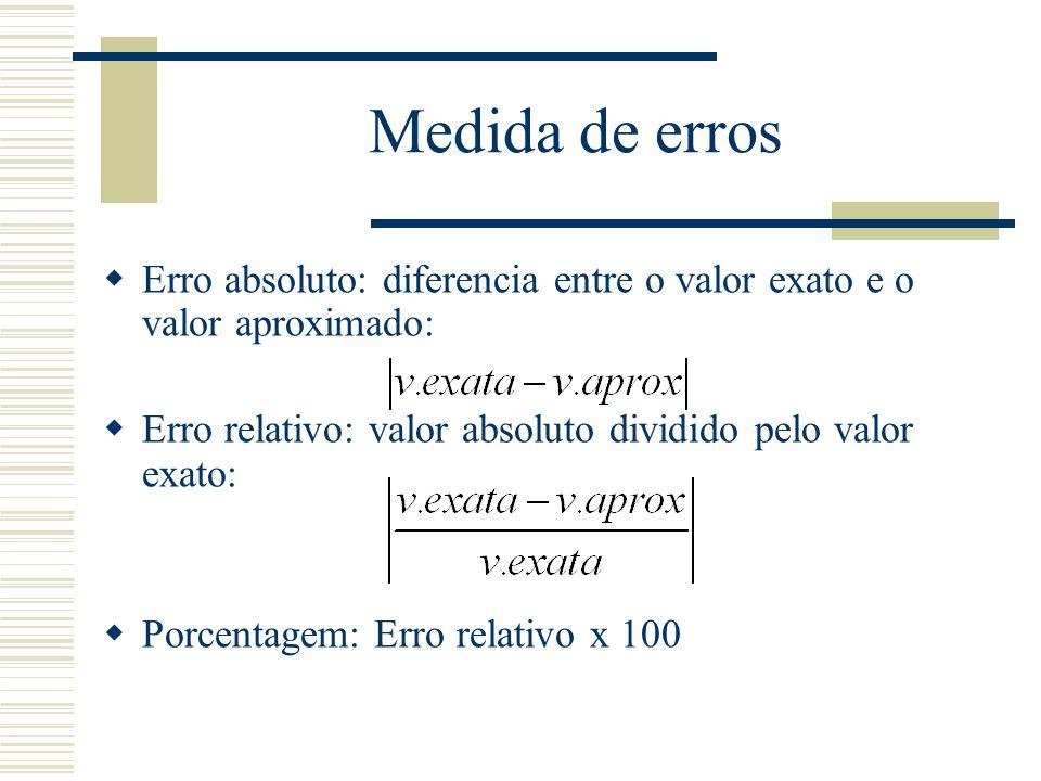 Medida de erros  Erro absoluto: diferencia entre o valor exato e o valor aproximado:  Erro relativo: valor absoluto dividido pelo valor exato:  Porcentagem: Erro relativo x 100