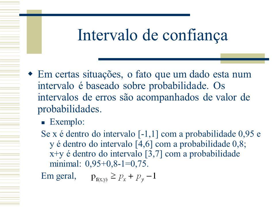 Intervalo de confiança  Em certas situações, o fato que um dado esta num intervalo é baseado sobre probabilidade. Os intervalos de erros são acompanh