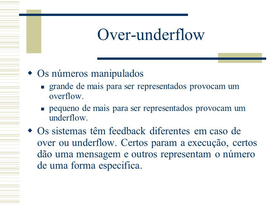 Over-underflow  Os números manipulados grande de mais para ser representados provocam um overflow. pequeno de mais para ser representados provocam um