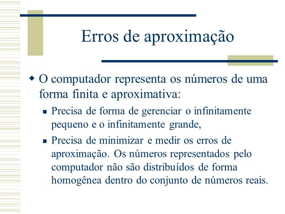 Erros de aproximação  O computador representa os números de uma forma finita e aproximativa: Precisa de forma de gerenciar o infinitamente pequeno e o infinitamente grande, Precisa de minimizar e medir os erros de aproximação.