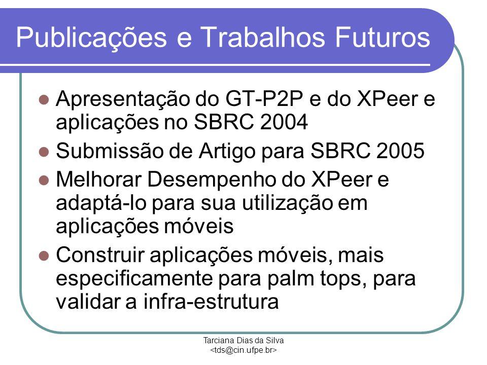 Tarciana Dias da Silva Publicações e Trabalhos Futuros Apresentação do GT-P2P e do XPeer e aplicações no SBRC 2004 Submissão de Artigo para SBRC 2005 Melhorar Desempenho do XPeer e adaptá-lo para sua utilização em aplicações móveis Construir aplicações móveis, mais especificamente para palm tops, para validar a infra-estrutura