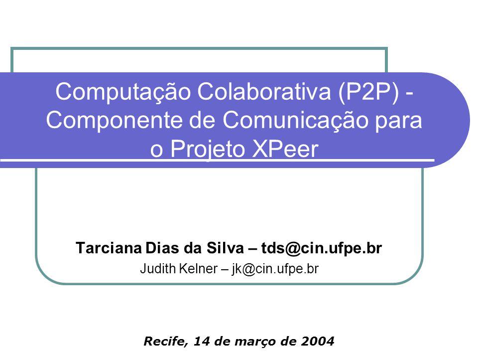 Computação Colaborativa (P2P) - Componente de Comunicação para o Projeto XPeer Recife, 14 de março de 2004 Tarciana Dias da Silva – tds@cin.ufpe.br Judith Kelner – jk@cin.ufpe.br