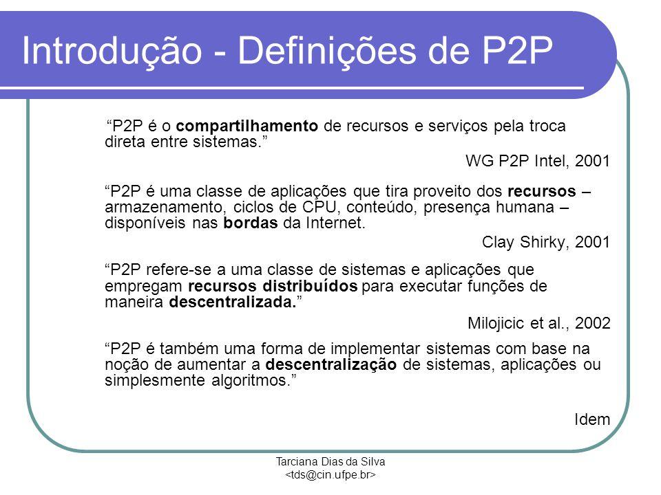 Tarciana Dias da Silva Introdução - Definições de P2P P2P é o compartilhamento de recursos e serviços pela troca direta entre sistemas. WG P2P Intel, 2001 P2P é uma classe de aplicações que tira proveito dos recursos – armazenamento, ciclos de CPU, conteúdo, presença humana – disponíveis nas bordas da Internet.