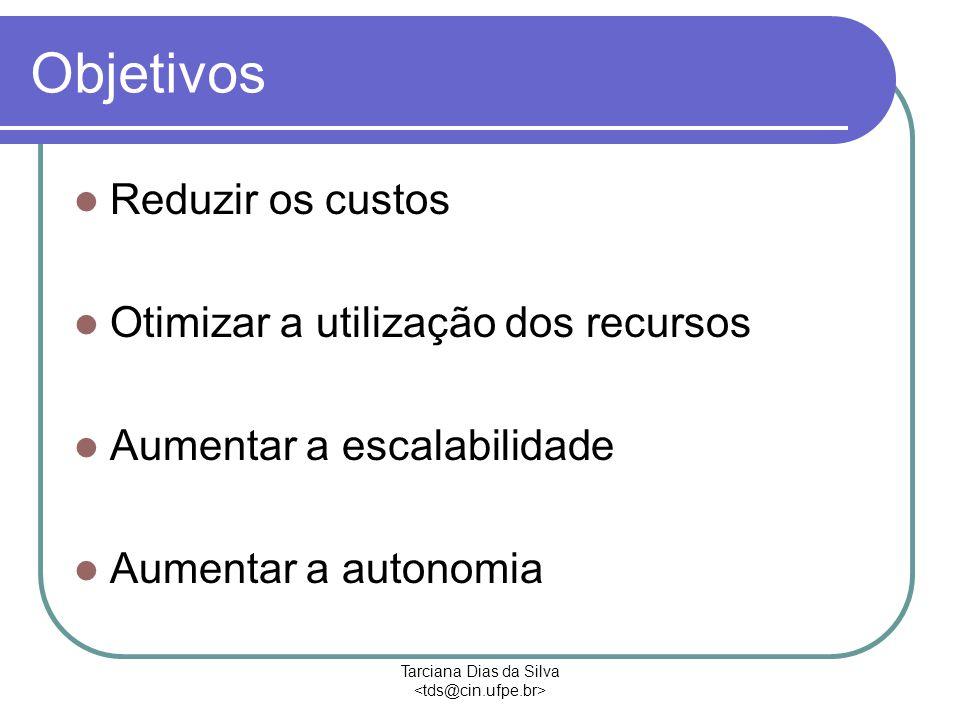 Tarciana Dias da Silva Objetivos Reduzir os custos Otimizar a utilização dos recursos Aumentar a escalabilidade Aumentar a autonomia