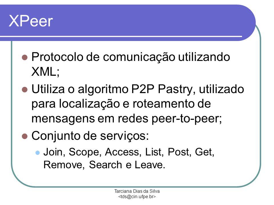 Tarciana Dias da Silva XPeer Protocolo de comunicação utilizando XML; Utiliza o algoritmo P2P Pastry, utilizado para localização e roteamento de mensagens em redes peer-to-peer; Conjunto de serviços: Join, Scope, Access, List, Post, Get, Remove, Search e Leave.