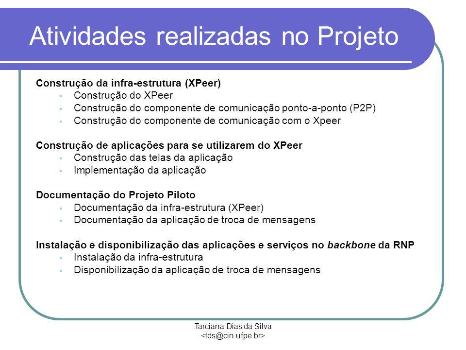 Tarciana Dias da Silva Atividades realizadas no Projeto Construção da infra-estrutura (XPeer)  Construção do XPeer  Construção do componente de comunicação ponto-a-ponto (P2P)  Construção do componente de comunicação com o Xpeer Construção de aplicações para se utilizarem do XPeer  Construção das telas da aplicação  Implementação da aplicação Documentação do Projeto Piloto  Documentação da infra-estrutura (XPeer)  Documentação da aplicação de troca de mensagens Instalação e disponibilização das aplicações e serviços no backbone da RNP  Instalação da infra-estrutura  Disponibilização da aplicação de troca de mensagens