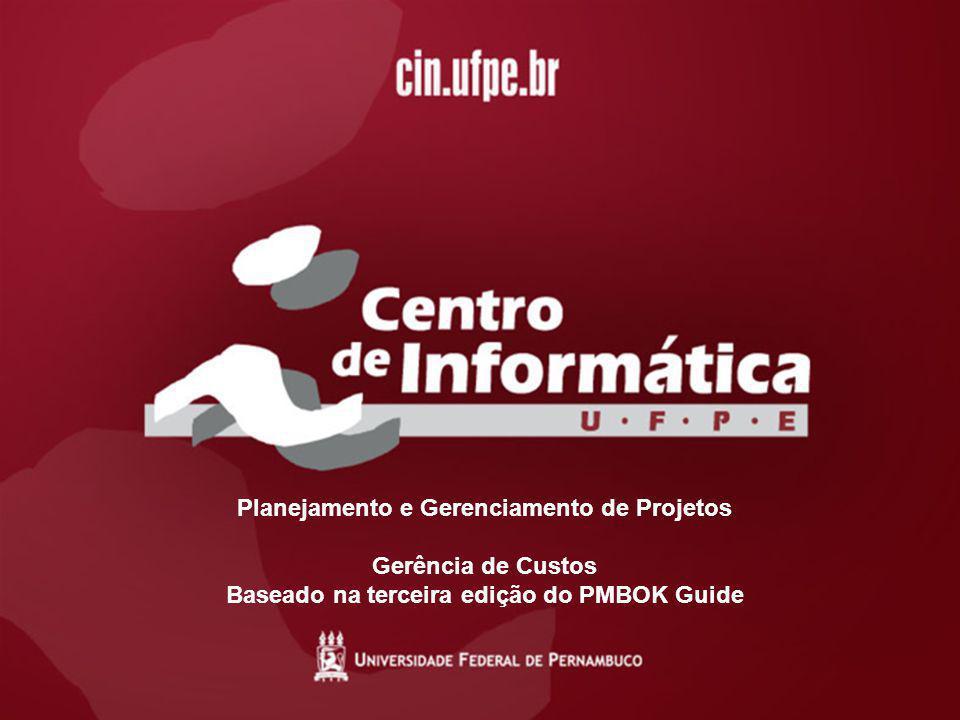 15/01/20071 Planejamento e Gerenciamento de Projetos Gerência de Custos Baseado na terceira edição do PMBOK Guide