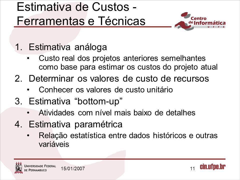 15/01/200711 Estimativa de Custos - Ferramentas e Técnicas 1.Estimativa análoga Custo real dos projetos anteriores semelhantes como base para estimar