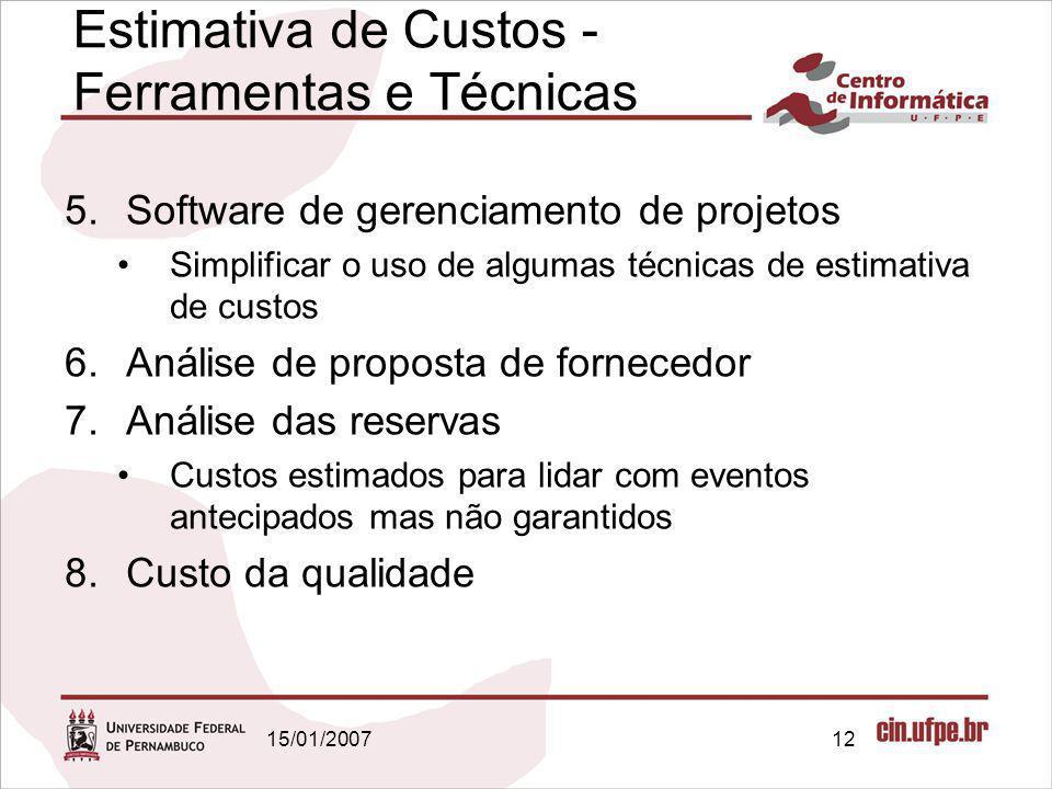 15/01/200712 5.Software de gerenciamento de projetos Simplificar o uso de algumas técnicas de estimativa de custos 6.Análise de proposta de fornecedor
