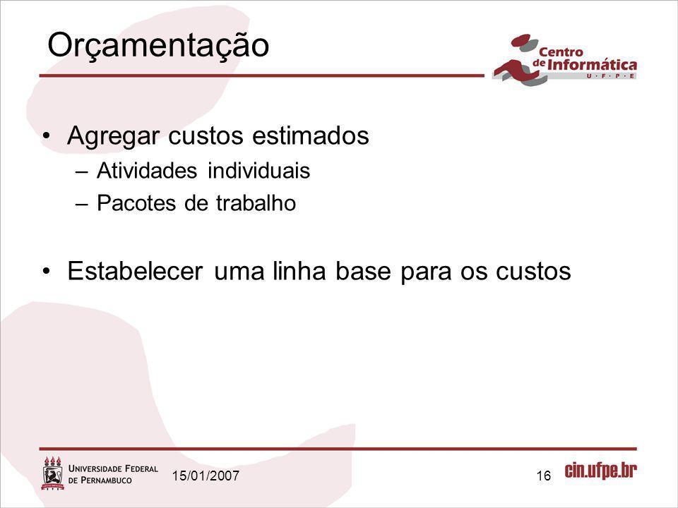 15/01/200716 Orçamentação Agregar custos estimados –Atividades individuais –Pacotes de trabalho Estabelecer uma linha base para os custos